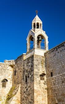 Klokkentoren van de geboortekerk in bethlehem, palestina