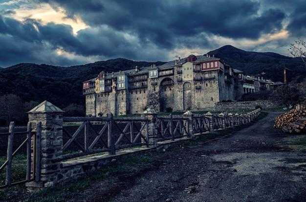 Klooster iviron op de berg athos, chalkidiki, griekenland