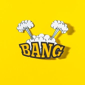 Knal tekst met explosiewolk in grappige stijl tegen gele achtergrond