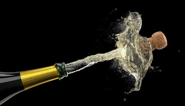 Knallende kurk van een fles champagne