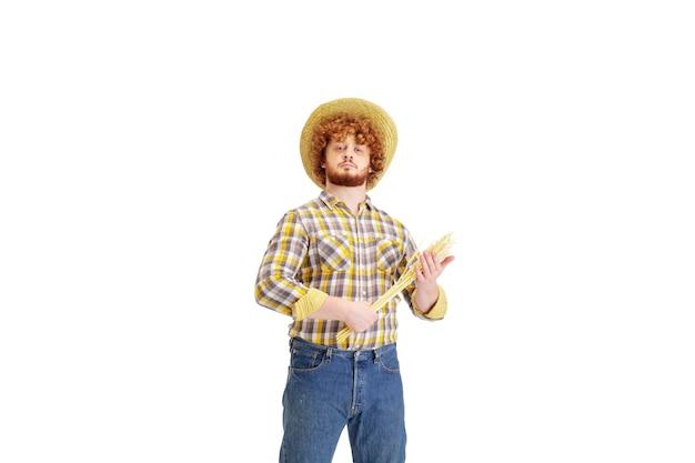 Knappe boer rancher geïsoleerd over white