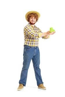 Knappe boer, rancher geïsoleerd over witte studio