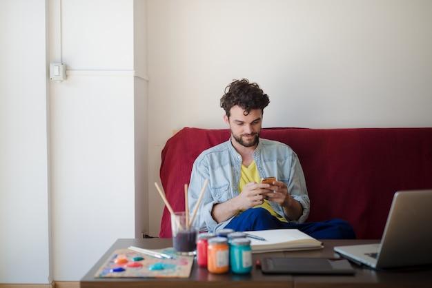 Knappe hipster moderne man schilderij