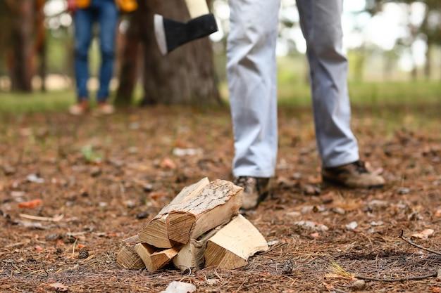 Knappe houthakker met boom logt in bos