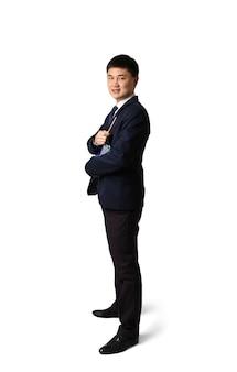 Knappe jonge aziatische leraar op witte achtergrond