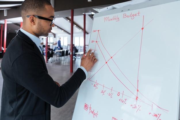 Knappe jonge zakenman die op een flip-over op kantoor schrijft