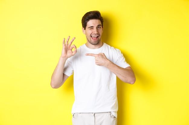 Knappe jongeman keurt iets goed, toont ok teken en knipoogt, staande tegen gele muur