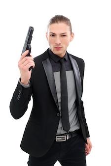 Knappe man met pistool