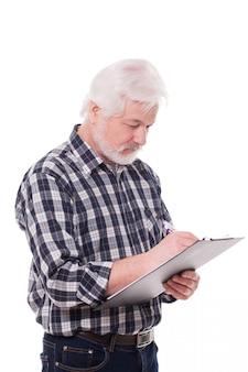 Knappe oudere man schrijven