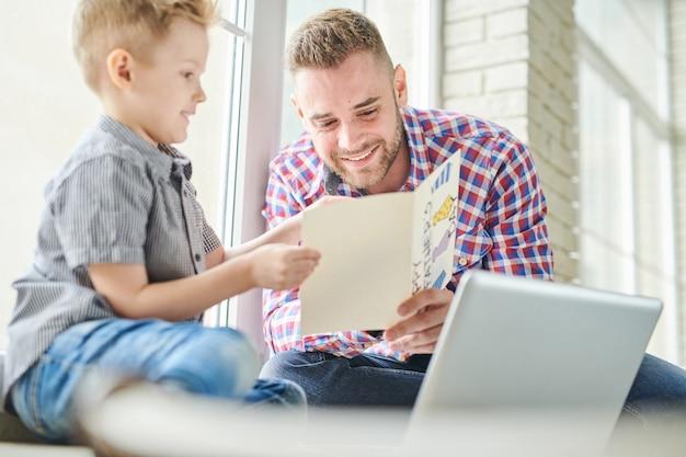 Knappe vader lezing vaders dag kaart
