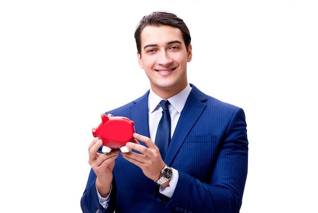 Knappe zakenman met spaarpot