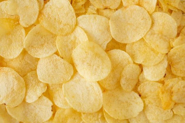 Knapperige chips snack textuur bovenaanzicht