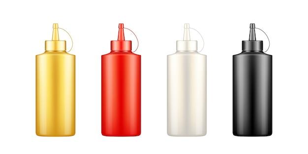 Knijp mosterd-, ketchup-, mayonaise- en sojasausflessen uit met een dopmodel. set blanco plastic voedselpakket voor restaurant of fastfood. sjabloon voor productcontainer. geïsoleerde 3d vectorillustratie