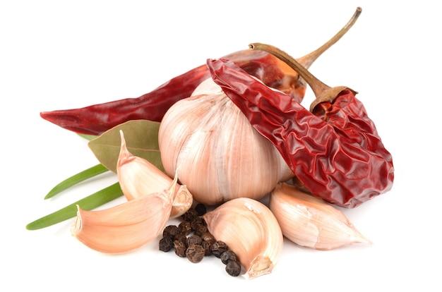 Knoflook, paprika en kruiden