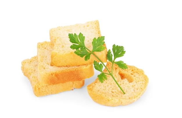 Knoflookbrood met kruiden, geïsoleerd op wit