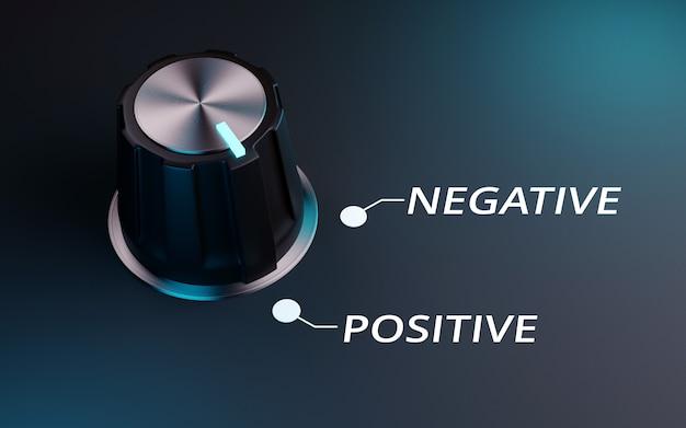 Knop negatief tot positief, 3d render