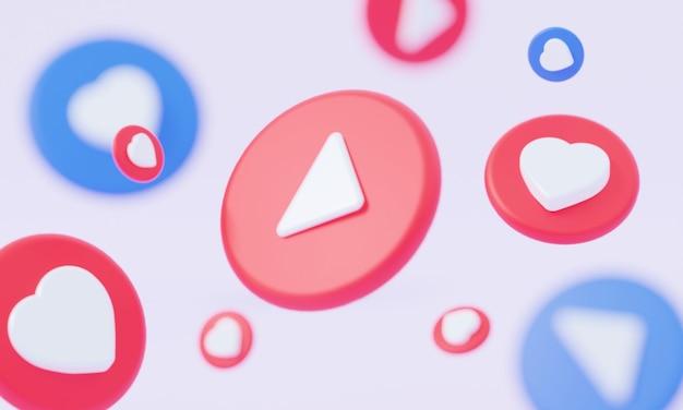 Knop ronde videospeler sociale media melding zoals pictogram vallende 3d-rendering