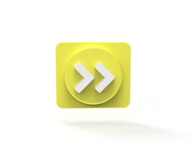 Knop vooruit afspelen muziekconcept sociale media 3d-visualisatie