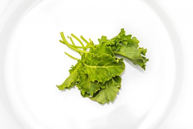 Knoppen van boerenkool (kool). salade met een rustiek en gezond aspect. geïsoleerd