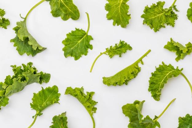 Knoppen van boerenkool (kool). salade met een rustiek en gezond aspect. geïsoleerde textuur.