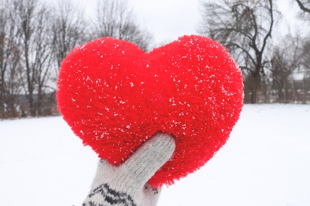 Knuffelhart in hand op de achtergrond van een winterlandschap. valentijnsdag en liefde concept
