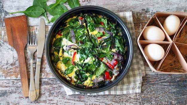 Koekenpan met spinazie omelet.