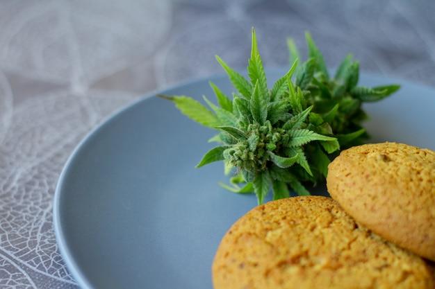 Koekjes met cannabis en toppen van marihuana op de plaat. blikje cannabis toppen cbd. medische legale marihuana.