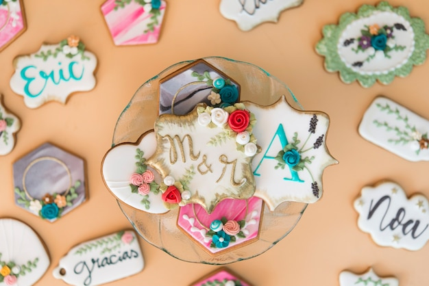 Koekjes met hartvorm voor bruiloften of valentijnsdag