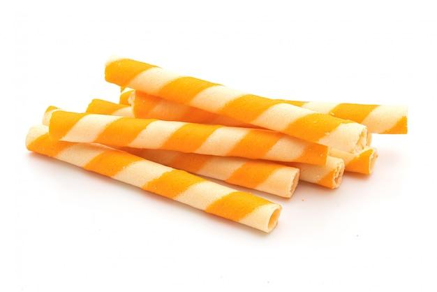 Koekjeswafels plakken met sinaasappelcrème