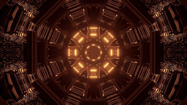 Koel geel 3d-rendering futuristische sci-fi technolampen - een coole achtergrond