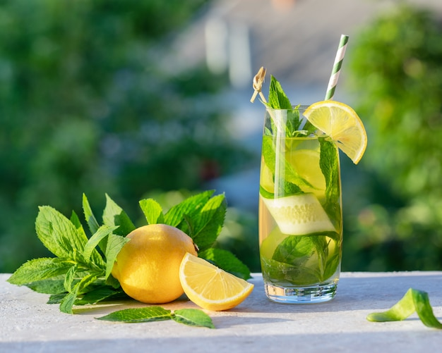Koel verfrissende limonade of mojito cocktail met citroen, komkommer en munt, drankje of drank met ijs, buiten. zomer concept. koud detoxwater met papierstro, exemplaarruimte.