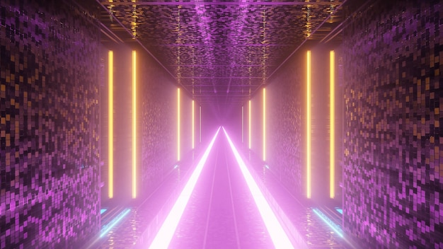 Koele futuristische achtergrond met verlichte kleurrijke zwaailichten