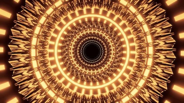Koele futuristische illustratie met verlichte gele cirkels