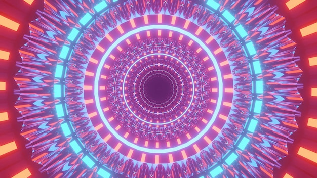 Koele futuristische illustratie met verlichte kleurrijke cirkels en lichten op een zwarte achtergrond