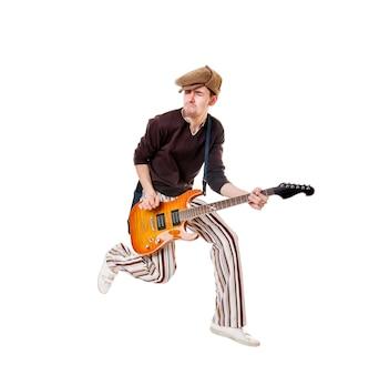 Koele gitarist op wit