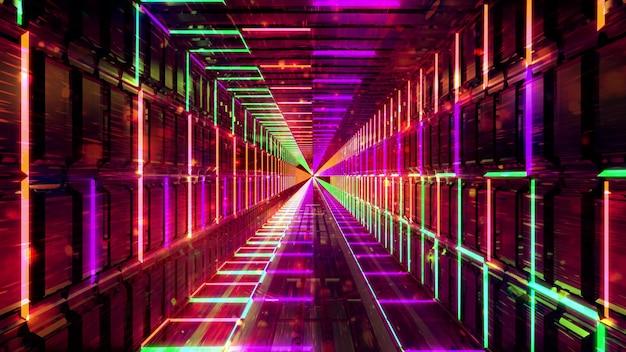 Koele kleurrijke multikleuren abstracte kunst met 3d-achtergrond van deeltjesbellen