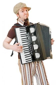 Koele muzikant met concertina