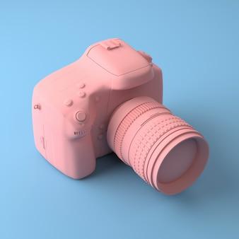 Koele professionele camera op een blauwe achtergrond. alles geverfd in een modieuze roze en pastel kleur.