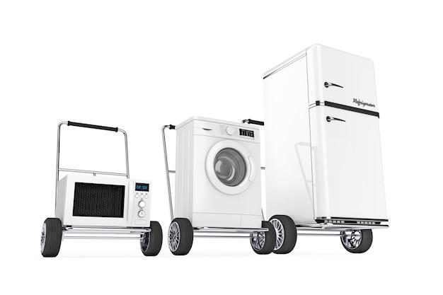 Koelkast, wasmachine en magnetron over handkarren op een witte achtergrond. 3d-rendering