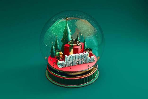 Koepel met kerstweergave met groen