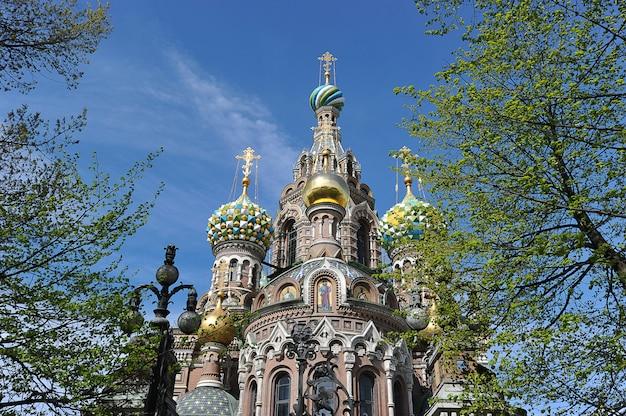 Koepels van de orthodoxe kerk van de verlosser op bloed in st. petersburg