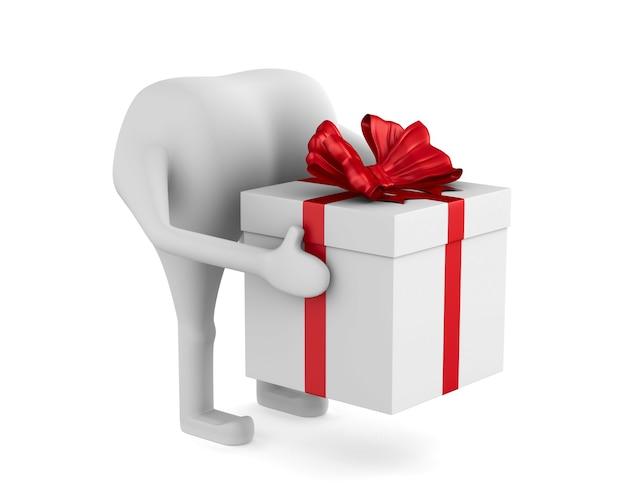 Koerier met geschenkdoos op witte achtergrond. geïsoleerde 3d illustratie