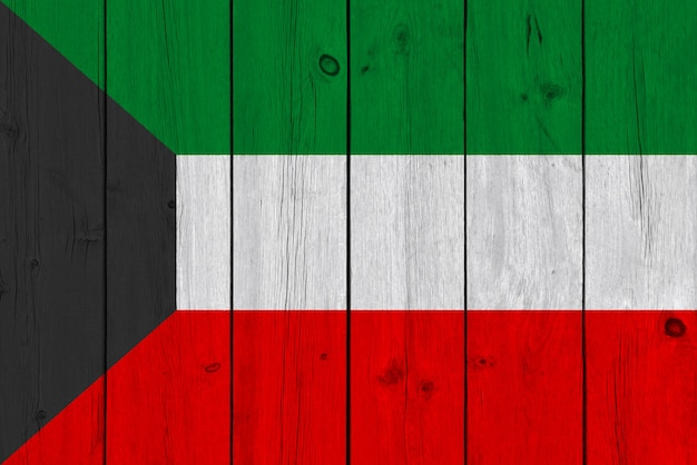 Koeweit vlag geschilderd op oude houten plank