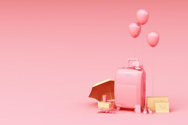 Koffer met accessoires voor reizigers. reisconcept het 3d teruggeven