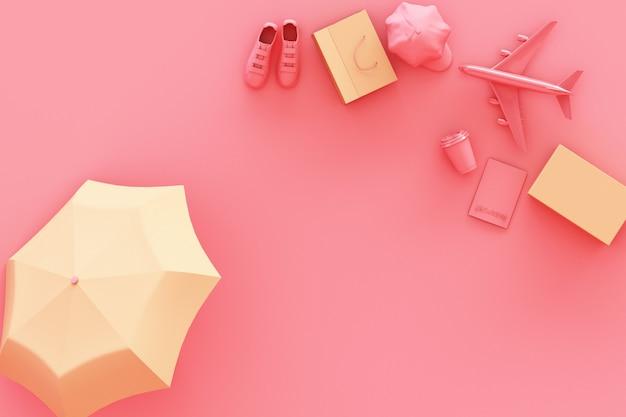 Koffer met reizigerstoebehoren bij pastelkleur het roze reisconcept 3d teruggeven