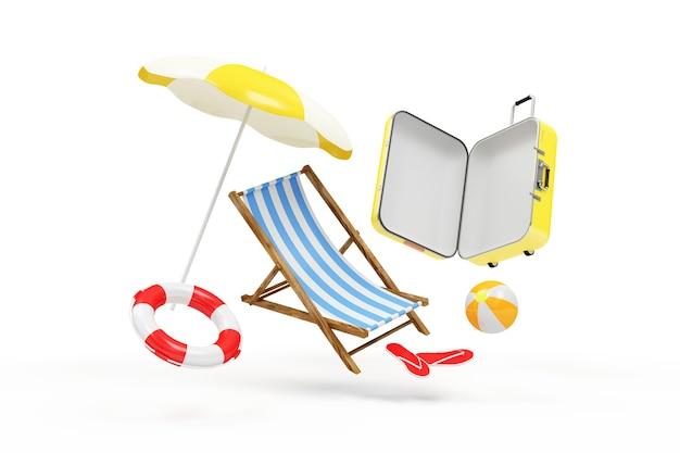 Koffer met verschillende accessoires voor vakantie levitatie