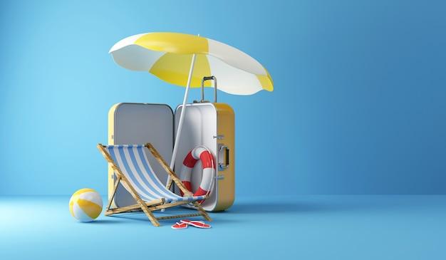 Koffer met verschillende accessoires voor vakantie op studio achtergrond