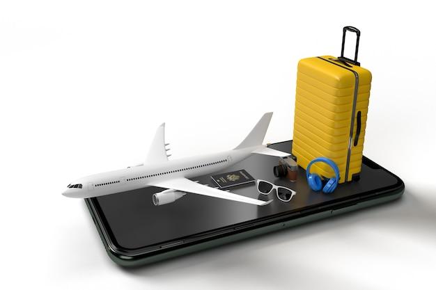 Koffer met vliegtuig en mobiel