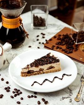 Koffie cheesecake en koffiebonen