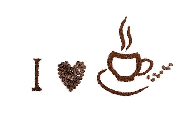 Koffie die op witte achtergrond met koffietekst wordt geïsoleerd. achtergrond of textuurconcept.